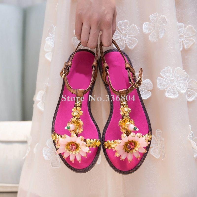 Nuovo arrivo dolce girasole del Strass decorazioni Rosso Donna piatto con i sandali della cinghia della caviglia appartamenti casuali sandali della spiaggia
