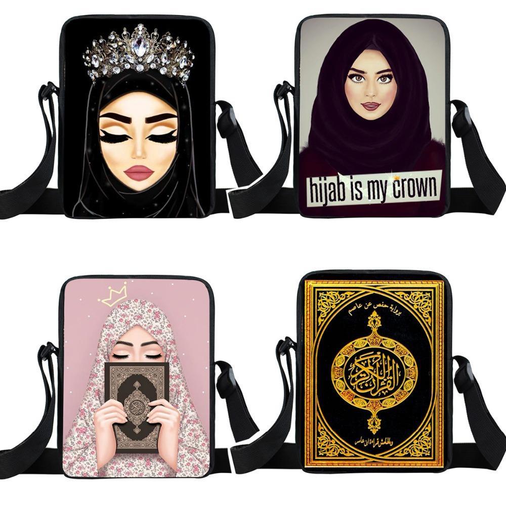 Student One-spalla Zaini ragazze musulmane personaggio del fumetto Piccolo Satchel multi-funzione Messenger Bag Kids Mini quadrati Borse 060731