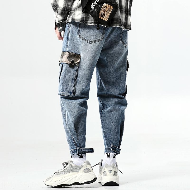 marca de moda tamanho grande Fengqin grande bolso soltas lavadas velho jeans e jeans homens de ferramentas cor do contraste costura leggings