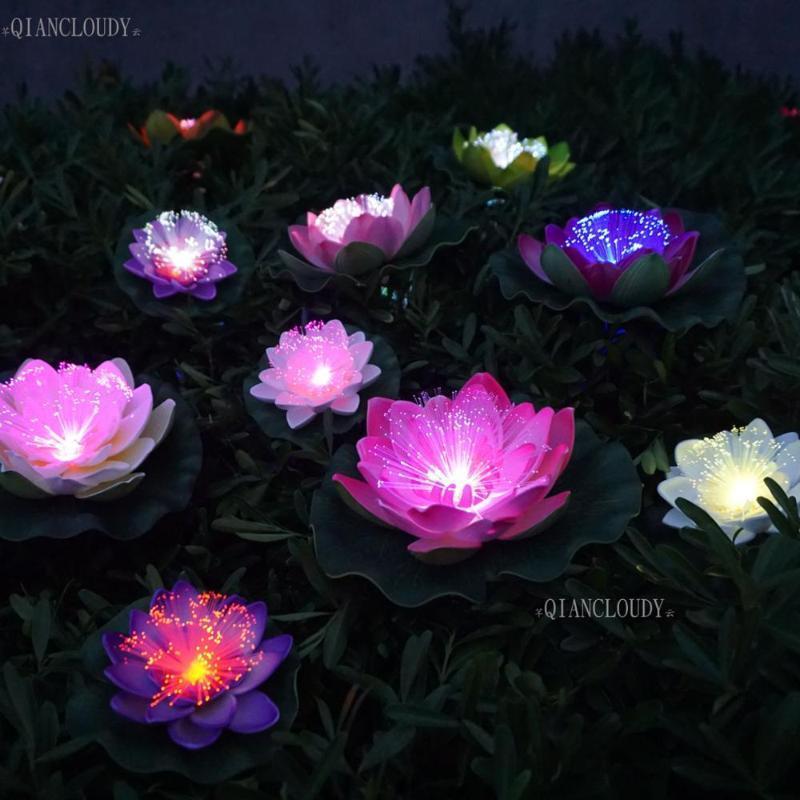 5 pieces Artificial LED Optic fibre Light Fake Lotus Leaf flowers Lily waterproof pond flower wedding PARTY decoration D23