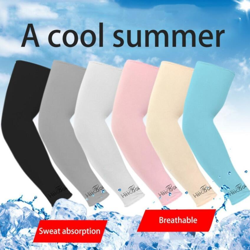 La seda del hielo de enfriamiento al aire 1Pair protección mangas del brazo del manguito Sun calentadores del brazo de Ciclismo Baloncesto Fútbol Running Cubiertas Deportes manga