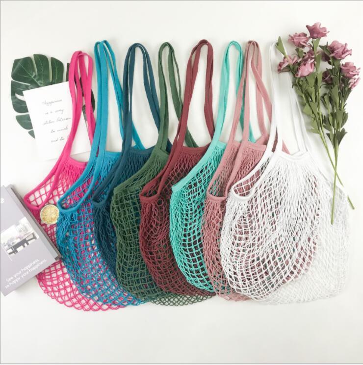 Sacos de compras Bolsas Shopper Tote Malha rede de algodão sacos de algodão sacos reutilizáveis sacos de armazenamento de frutas reusável saco de armazenamento de casa lsk245