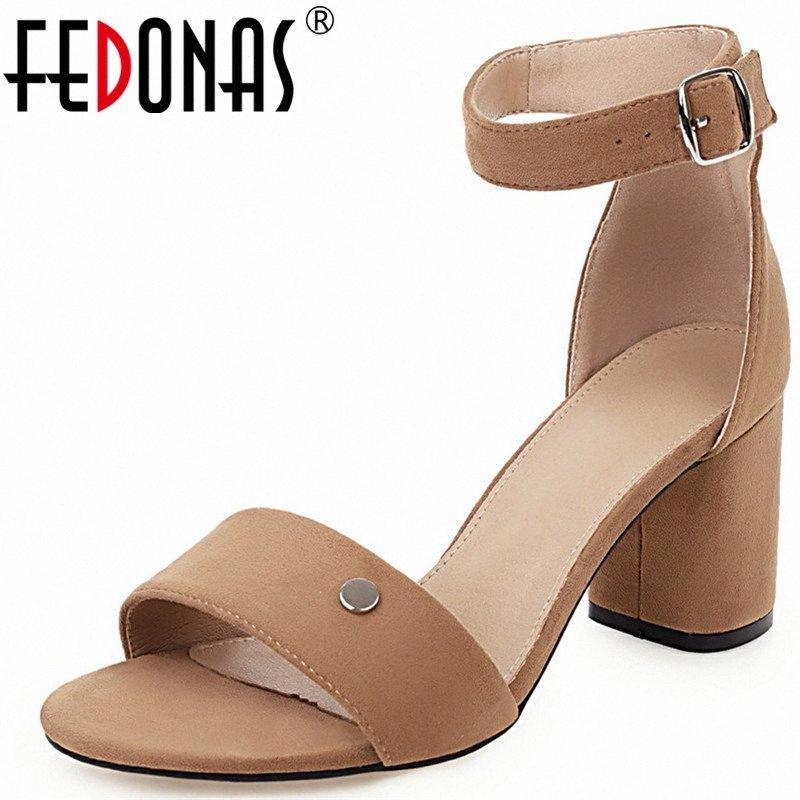 FEDONAS Women Microfiber Slippers Thick Heels Lace Up Buckle Cross Tied Basic Shoes Top Quality Summer Sandals Shoes Woman e0f6#