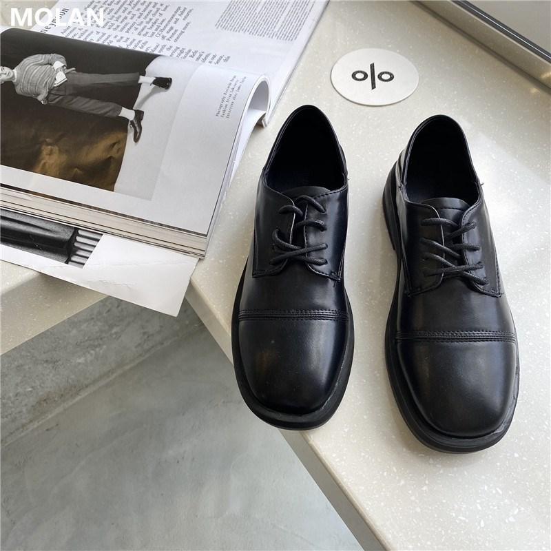 Mocassini Mocassino di MOLAN disegno di marca 2020 autunno coreano di modo caldo nero Buona lacci Osfords Flats scarpe di cuoio delle signore delle donne