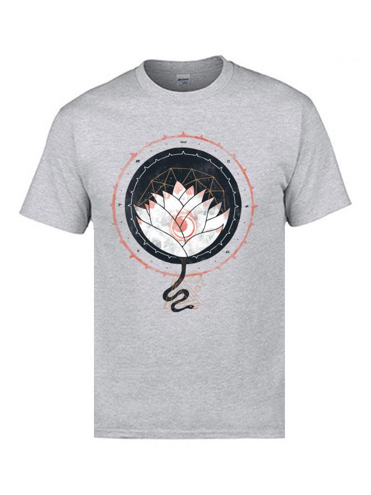 Barışçıl Kutsal Lotus Tişörtler Erkek% 100 Pamuk Büyük Tişörtlü Yüksek Kalite 3D Geometrik Grafik Çiçek T Gömlek yazdır Tops