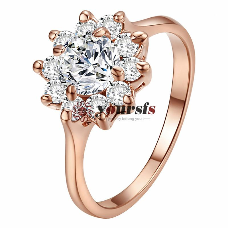 Yoursfs Frauen Blume Aussage Ringe Zinke Hochzeit Schmuck Ringe für Braut 18 Karat Rose Gold Überzogene CZ Ringe Valentinstag Geschenk