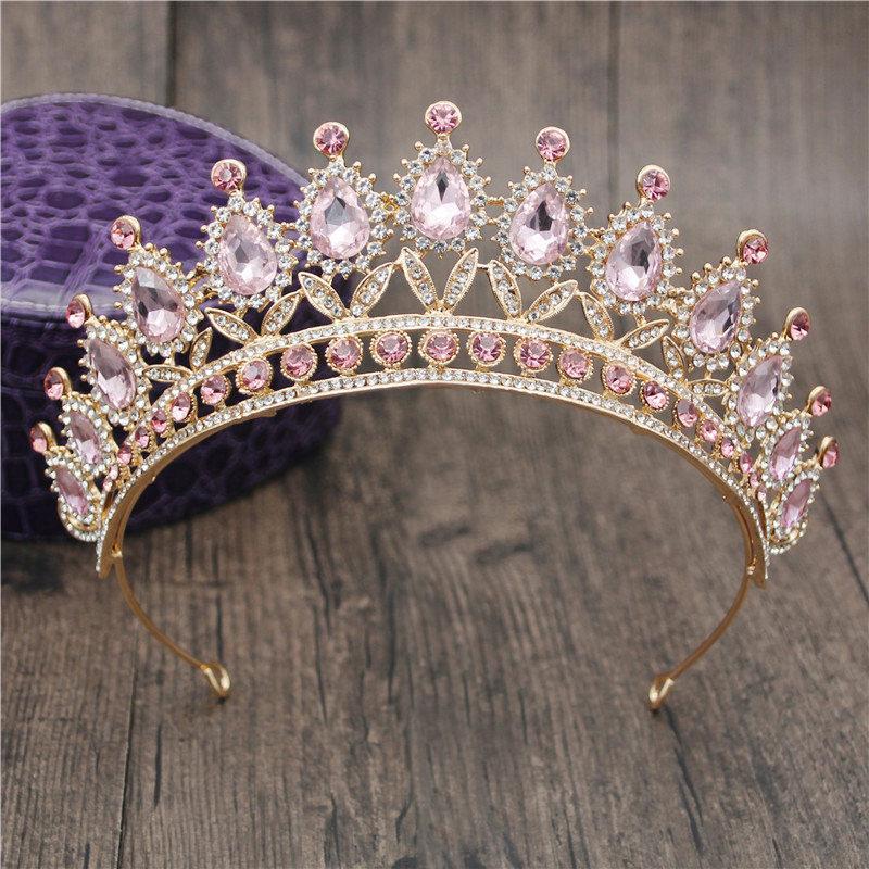 Linda rosa de cristal Headbands Rainha Tiaras e Cabelo casamento coroas nupciais Prom Party hairband Meninas Jóias Acessórios