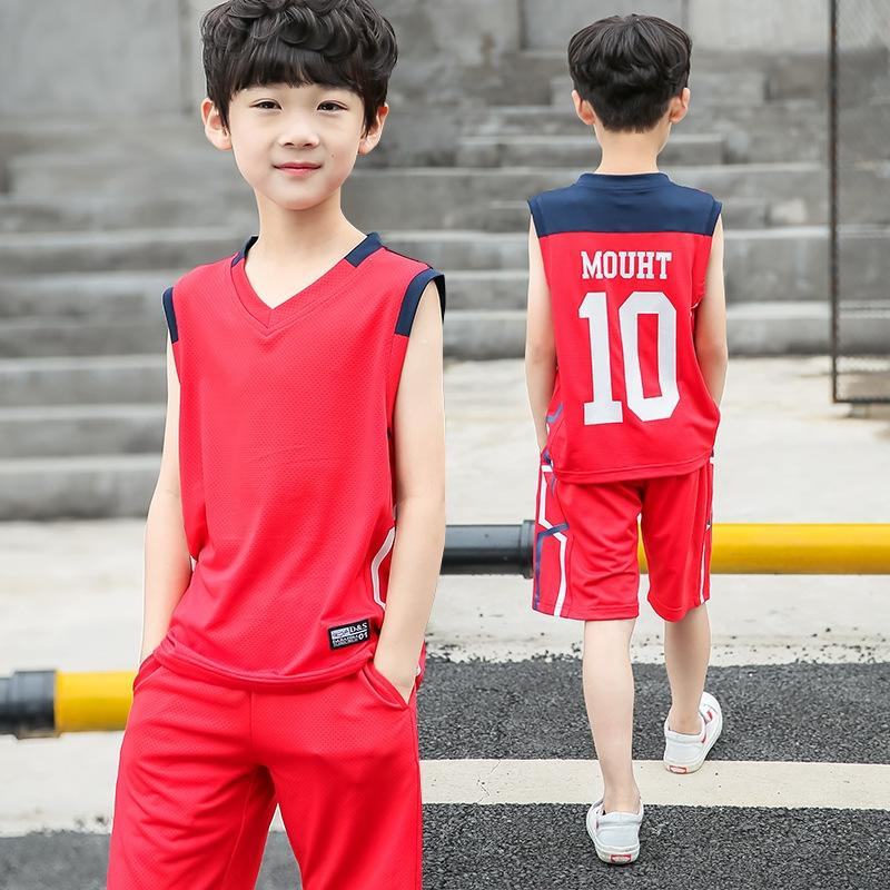 V8BNi одежды одежды для мальчиков летнего костюма 2019 новых средних и больших корейских детей детской моды мальчиков спортивных западного стиль двухсекционных моды костюма
