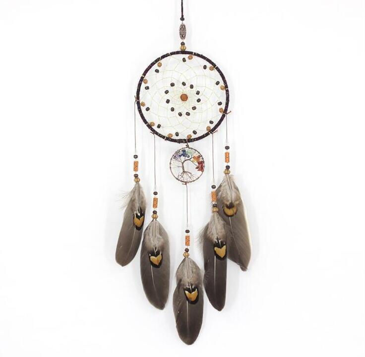 Handmades Dreamcatcher Wind Chimes hecho a mano nórdica del colector del sueño neto con las plumas colgantes Dreamcatcher regalo del arte la decoración del hogar LSK255