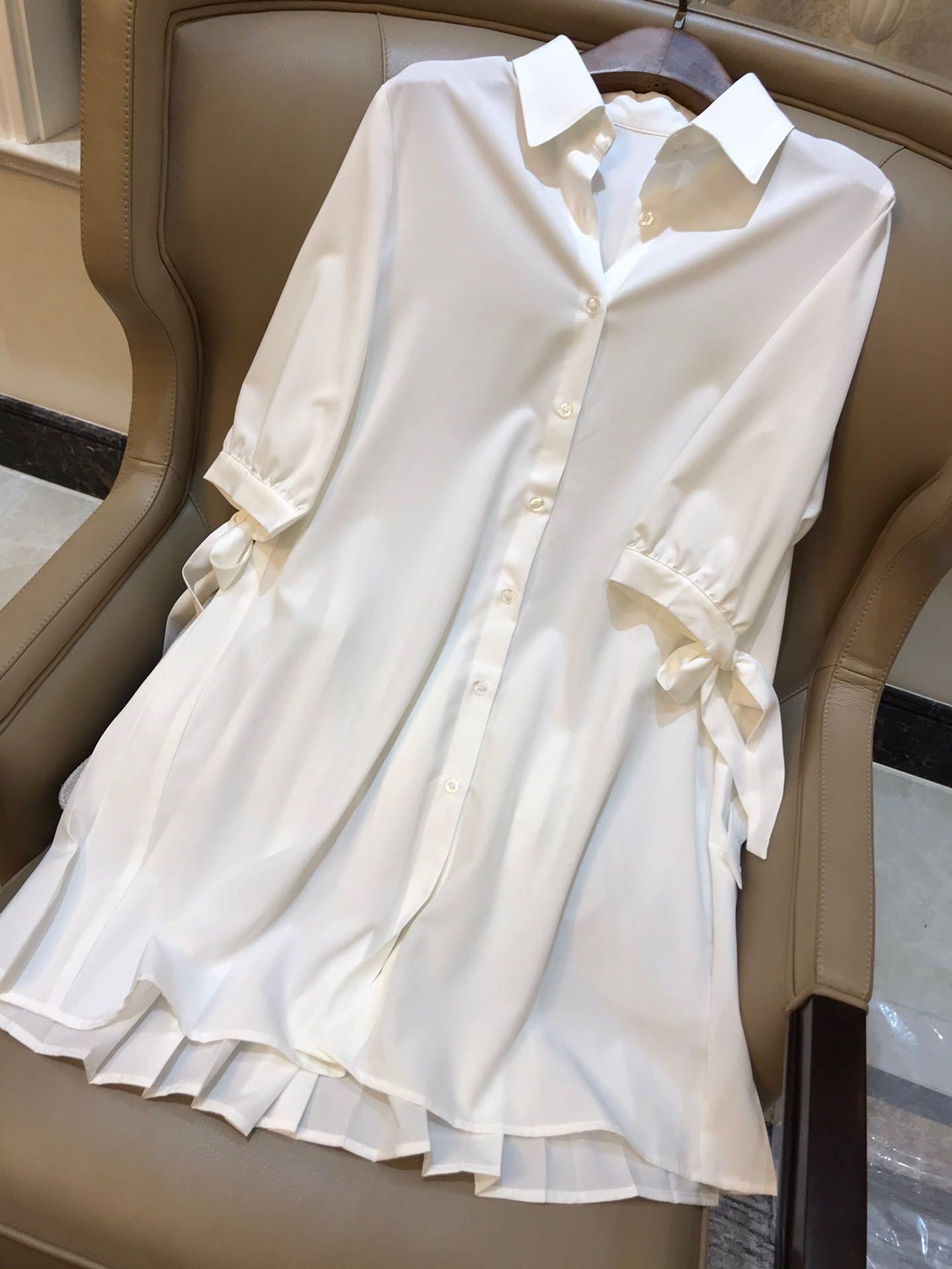 QmkB2 sel rafraîchissant doux et l'âge réduisant beau retour de revers plissé moyen chemise blanche de style jupe longue chemise blanche et longue robe fem
