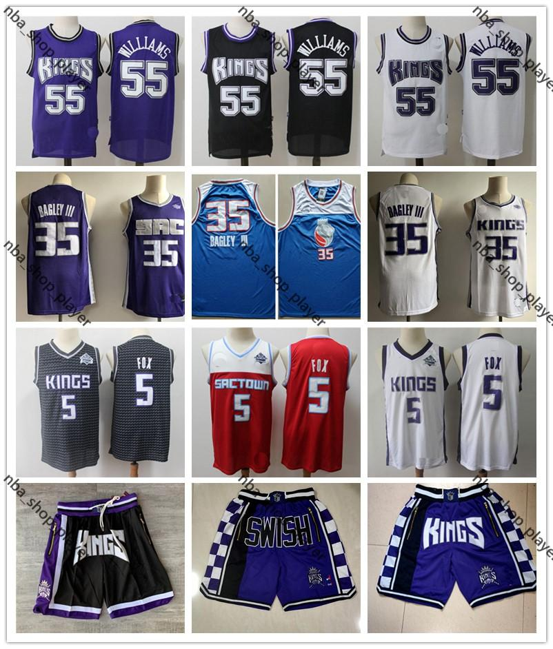 Mens Throwback jerseys De Aaron 5 Fox MarvinSacramento 35 Bagley III Jason Williams 55 Shorts de basqueteReis Basquete Jerseys