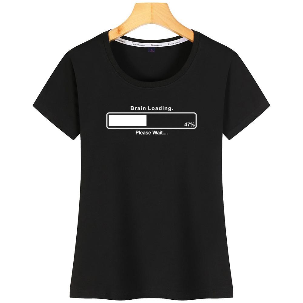 Cerveau Chargement drôle Gamer drôle de geek d'ordinateur femmes T-shirt Comical Impression SizeCotton en vrac