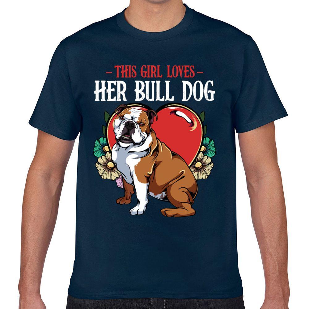 Tops T Shirt Men bulldog Casual Black Cotton Male Tshirt