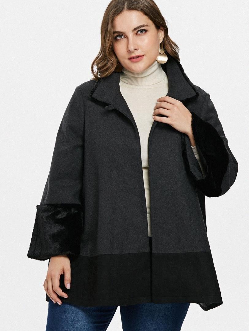 Wipalo Artı boyutu 5XL Faux Fur Trim Tek Düğme Yün Coat teslimi Aşağı Yaka Üç Çeyrek Dış Giyim Karışımları Kış Kadın Palto ZoIk #