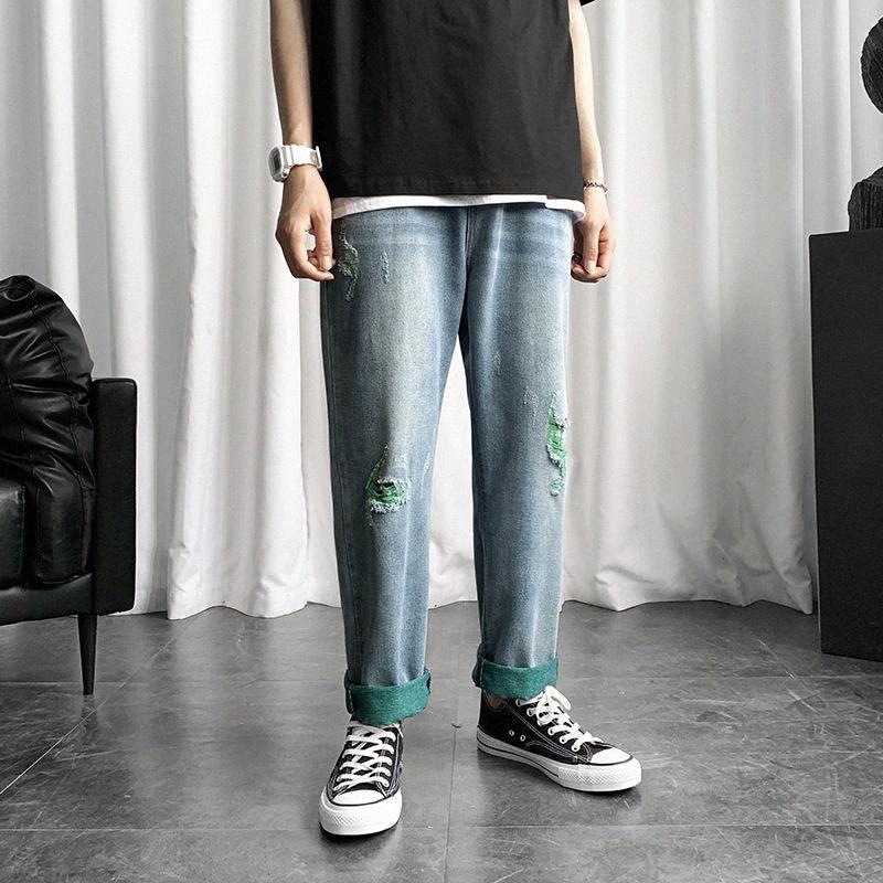 Ripped Jeans Straight Mode pour hommes Retro Casual Trou Jeans Pantalons Hommes Streetwear sauvage lâche Hip Hop Denim Pantalons Hommes M-5XL QdJL #