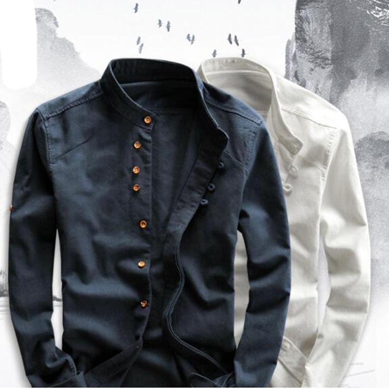 Erkek Casual Gömlek Pamuk Keten Uzun Kollu Erkekler Ince Mandarin Yaka Yüksek Kaliteli Yaz Plaj Gömlek Artı Boyutu 6XL