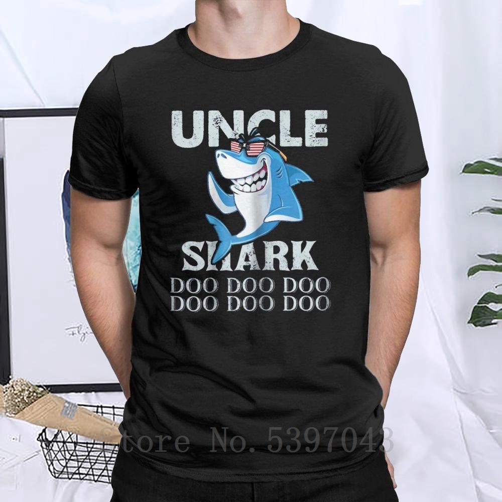 Tío tiburón Doo Doo Camiseta de los regalos de los hombres tío tiburón tiburón papá camisetas de cuello redondo puro más el tamaño de la ropa camiseta de algodón