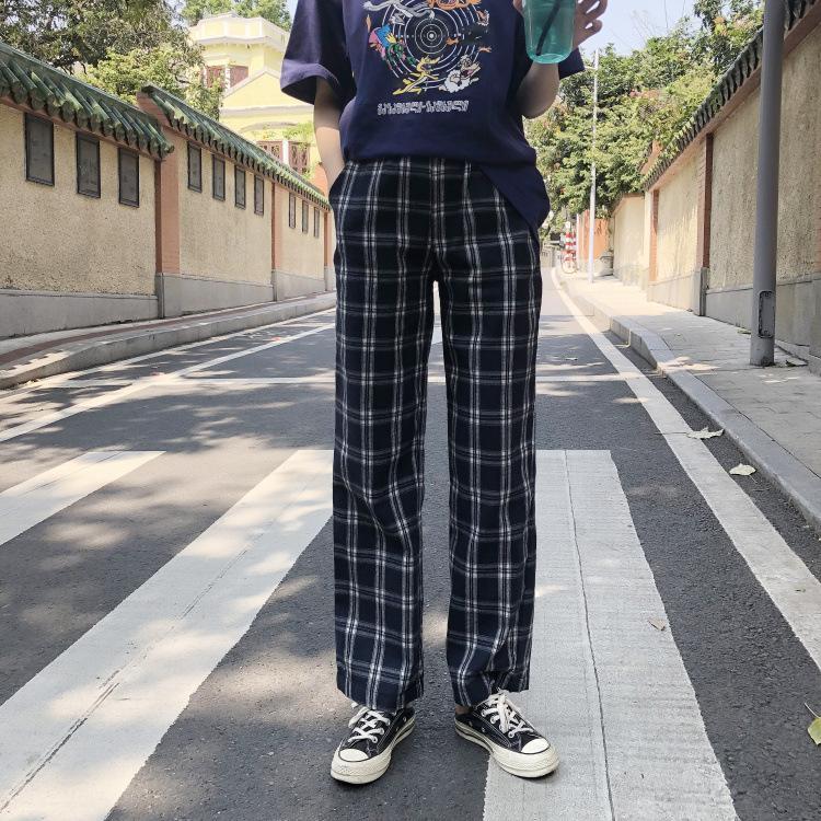 Tela escocesa de la vendimia Pantalones Mujeres bolsillo elástico de la cintura coreana Streetwear 2020 resorte de las nuevas casuales pantalones de chándal suelto recto