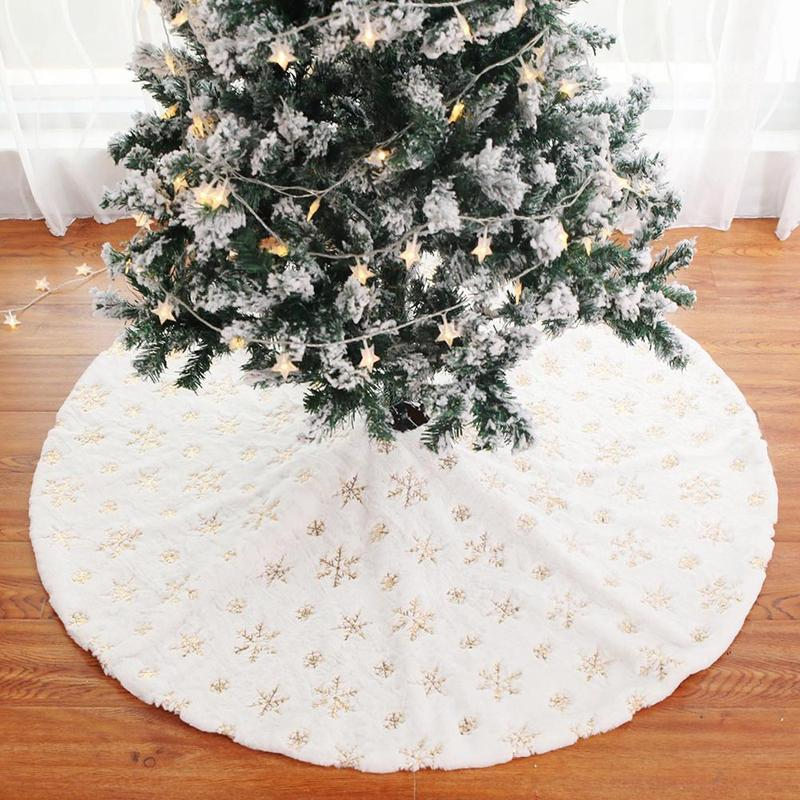 Materiali 90cm / 34 pollici bianco peluche albero di Natale gonna albero di Natale Carpet Grembiuli nuovo anno di natale decorazioni per partito