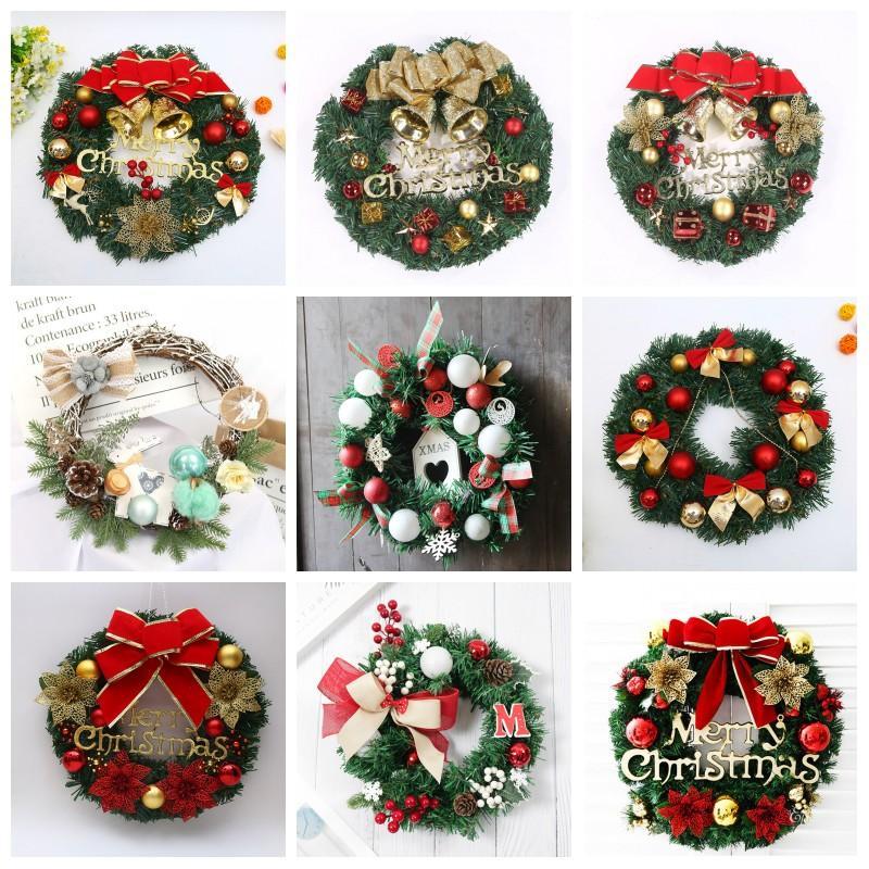 Noel Çelenk Yapay Bitki Rattan Çember Duvar Dekorasyon Simülasyon Sahte Çiçek Kapı Çelenk İçin Ev Asma