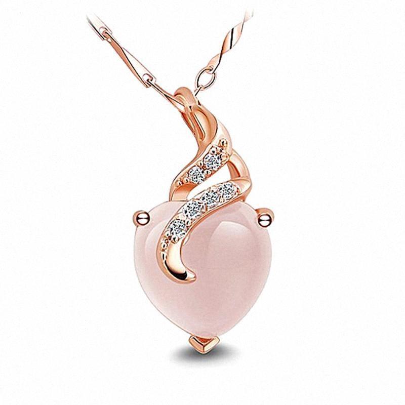 Amore cuore collane di diamanti rosa di cristallo zircone pietre preziose pendente per le donne oro rosa 14 carati gioielli girocollo color oro bijoux regali PON #