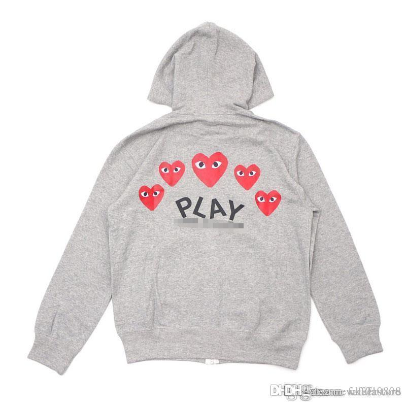 Best Quality Com DES play GARCONS CDG HOLIDAY Heart New Unisex Casual Little Red Heart Pullover Zipper Sweatshirts Hoodies Coat C058D Gray