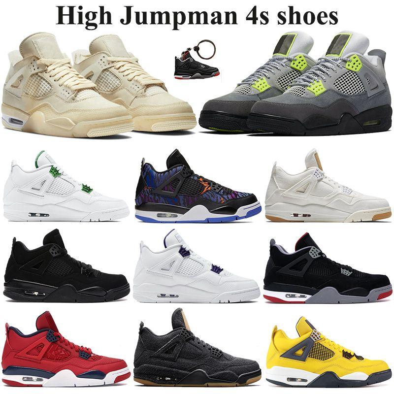2020 Jumpman 4s scarpe da basket bianco xsail denim nero gioco bianco Uomini Royal Athletic Sneakers SE neon viola metallizzato formatori EUR 40-47