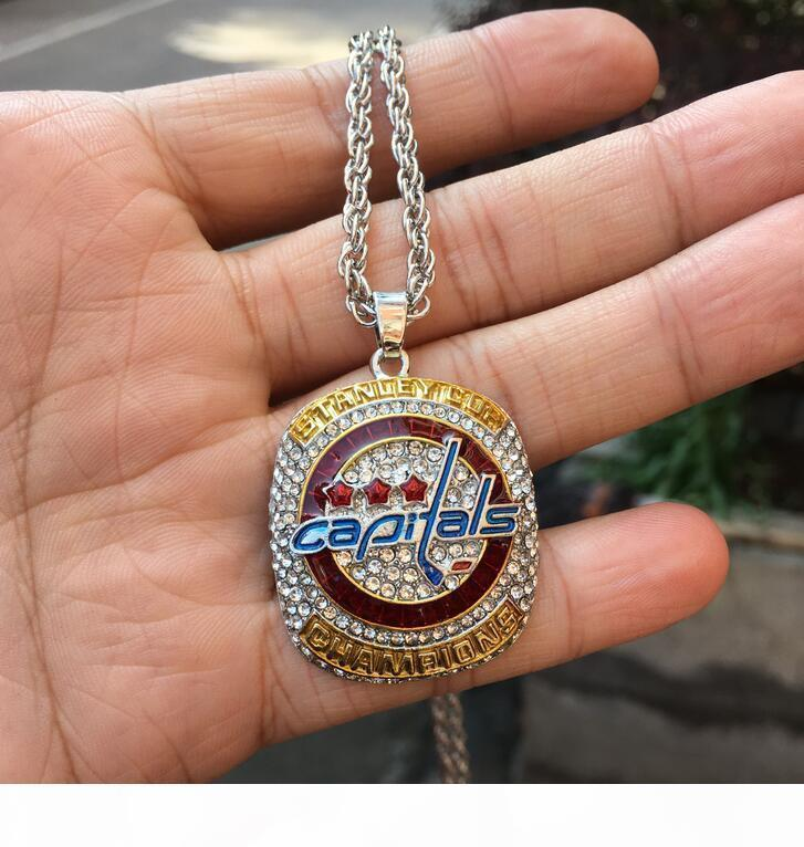 O 2018 Washington Capitals Stanley Cup Championship Ring Pendant Necklace With Chain Sport Sweater Chain Wholesale