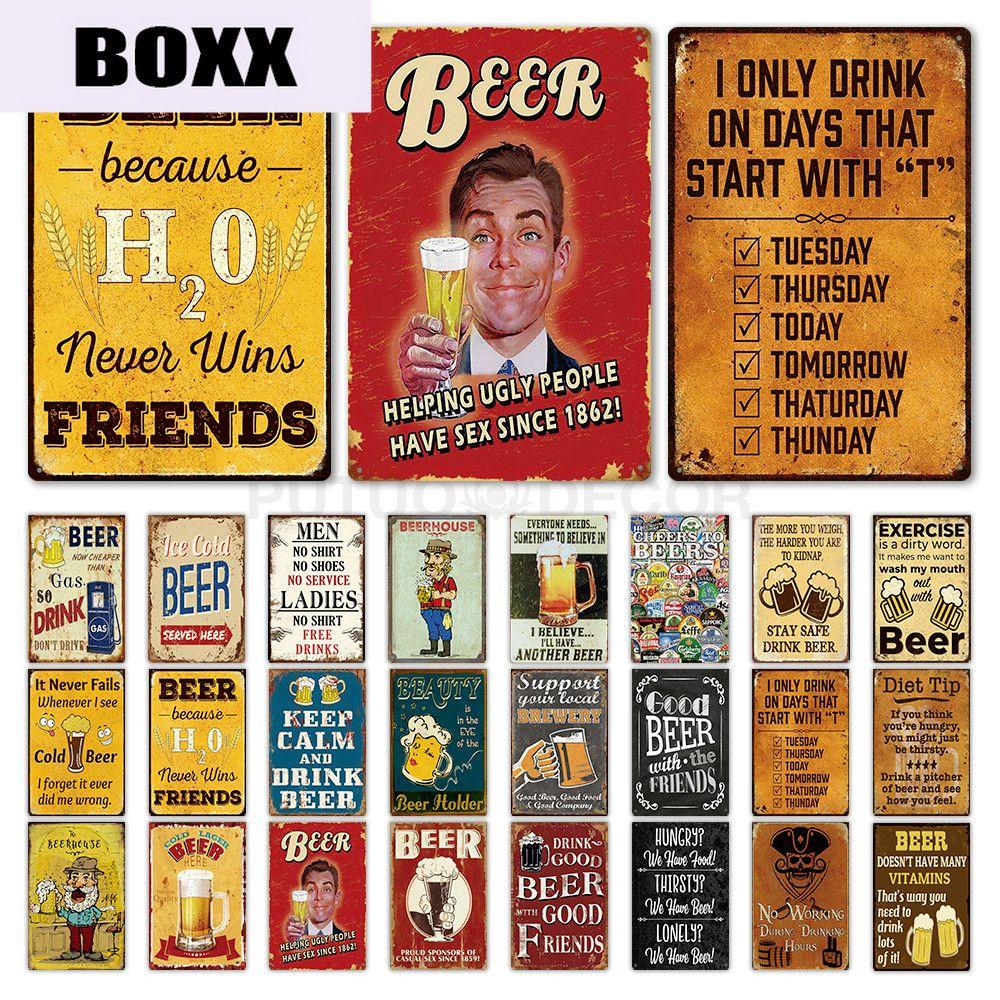 Beer Metal Sign Plaque Vintage Metal Bar Pub Club Tin Sign Man Cave Wall Decor