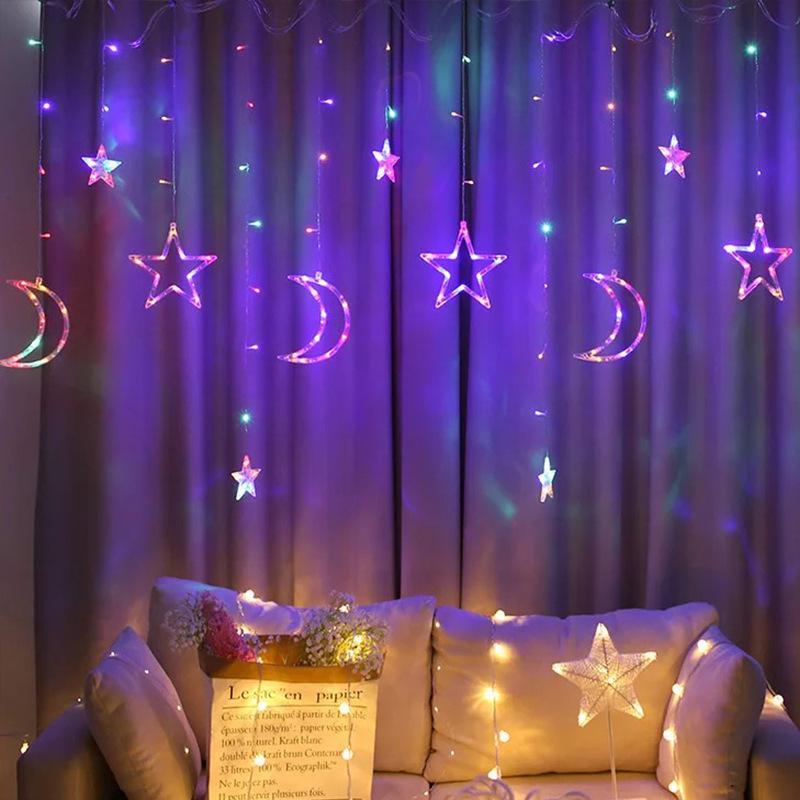 2.5M LED di Natale Luna Stella Tenda Luci UE / USA Esterno / Interno Garland leggiadramente della stringa della lampada della festa nuziale della decorazione di festa