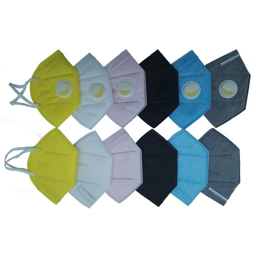 6 ألوان قناع يمكن التخلص منها دون تنفس تنفس صمام استخدام dhl ups فيديكس سفينة سريعة وصول GB2626-2019 قناع الوجه PM2.5 قناع واقي