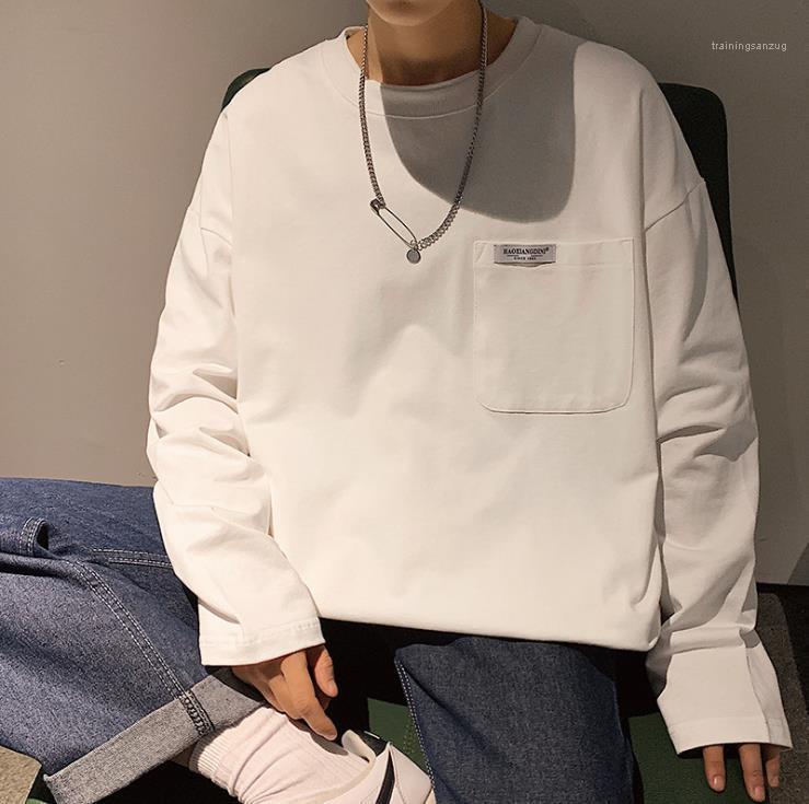 Весна Толстовка подросток Пара Solid Color Plus Размер фуфайка Люди Мода O-образного вырез High Street одежда Mens Большого Карман
