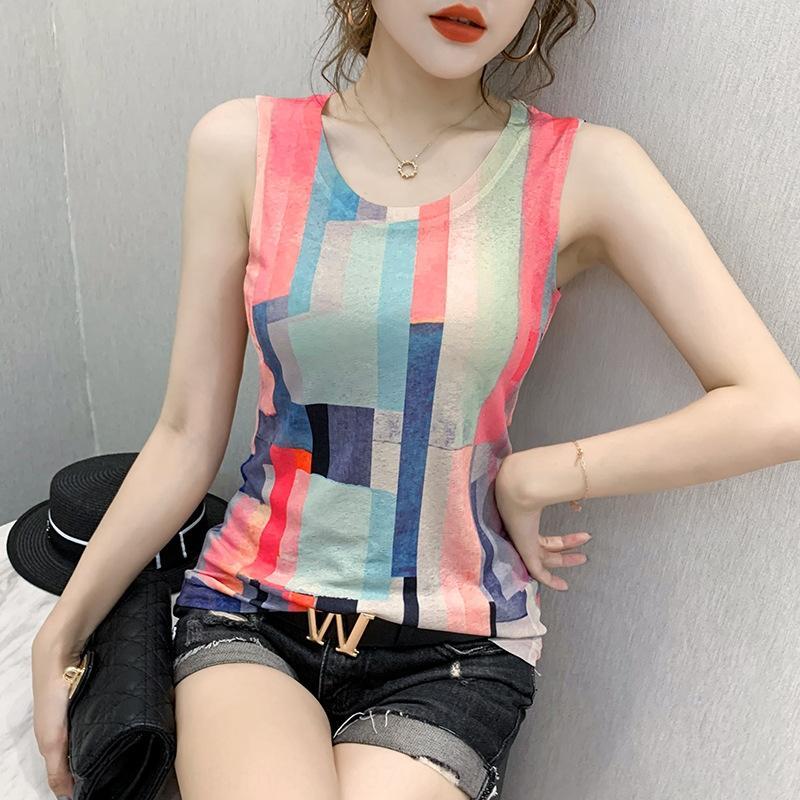 bUazD Farbe rechteckigen T- europäischen Stil Design Sinn dünne Weste T- Shirt Baumwollgarn Plaid Frauen atmungsfähige Grund Shirt Kontrastfarbe str