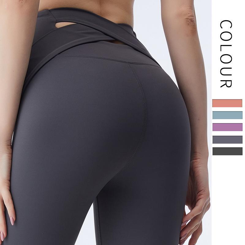 Новый Peach Buttock Cross Назад Спортивные штаны для женщин Быстрых сухого Бега Фитнес Брюки с высокой талией Йоги