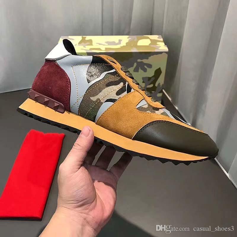 Los nuevos zapatos de color de ante con tachuelas Camo camuflaje roca corredor de la zapatilla de deporte para las mujeres de los hombres del perno prisionero de los zapatos ocasionales de las zapatillas de deporte Zapatos KH4