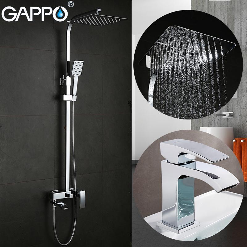 حوض الحنفيات دش حمام GAPPO صنابير الحمام للاستحمام مجموعة حوض الحنفيات بالوعة حوض نظام الحنفية دش