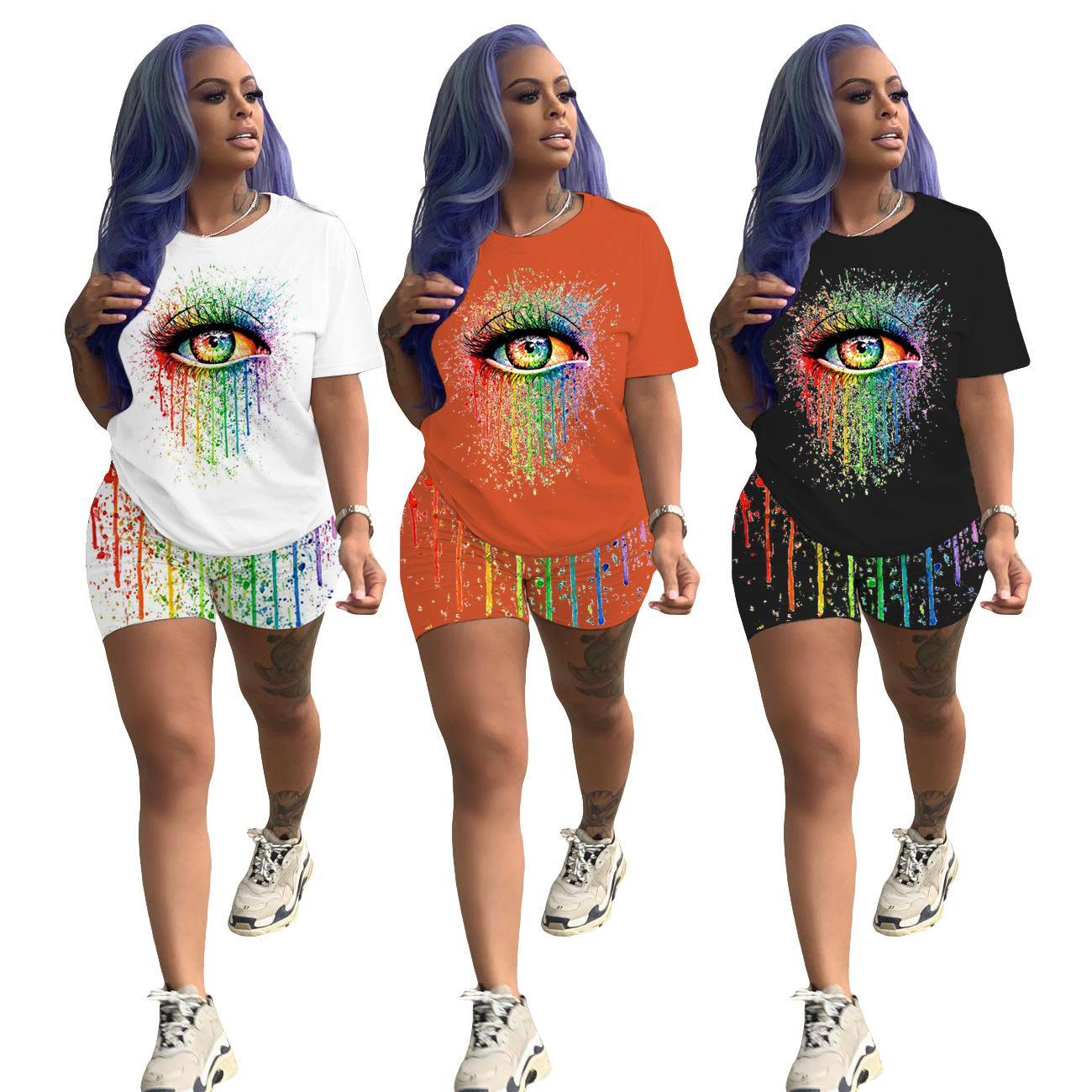 Femmes Designer Ensemble 2 pièces à manches courtes Fashion Brand Lettre Mosaic impression sport Casual Hot Pants Groupe Costume Jogging