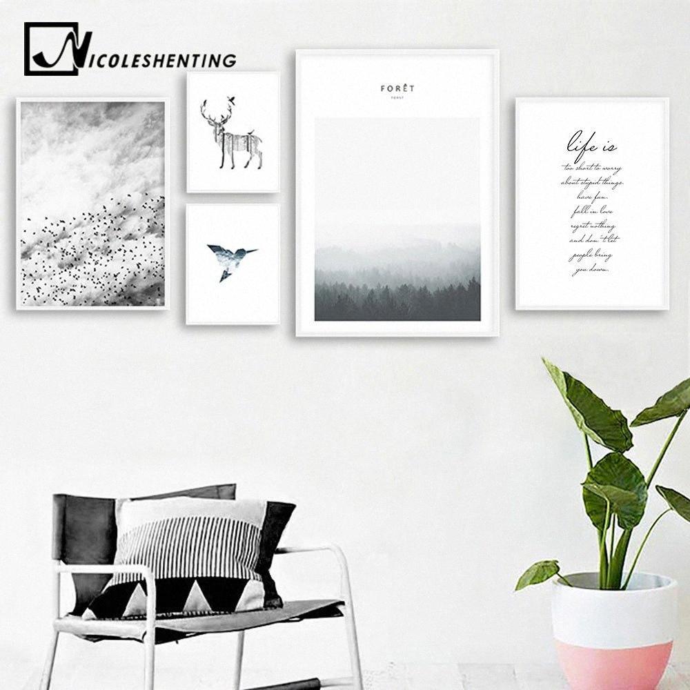 Escandinavo ciervos del bosque lona del paisaje cartel de la vida Cita nórdica del estilo del arte Impresión de la pared Pintura Decoración del hogar del cuadro de la decoración 8WI0 #