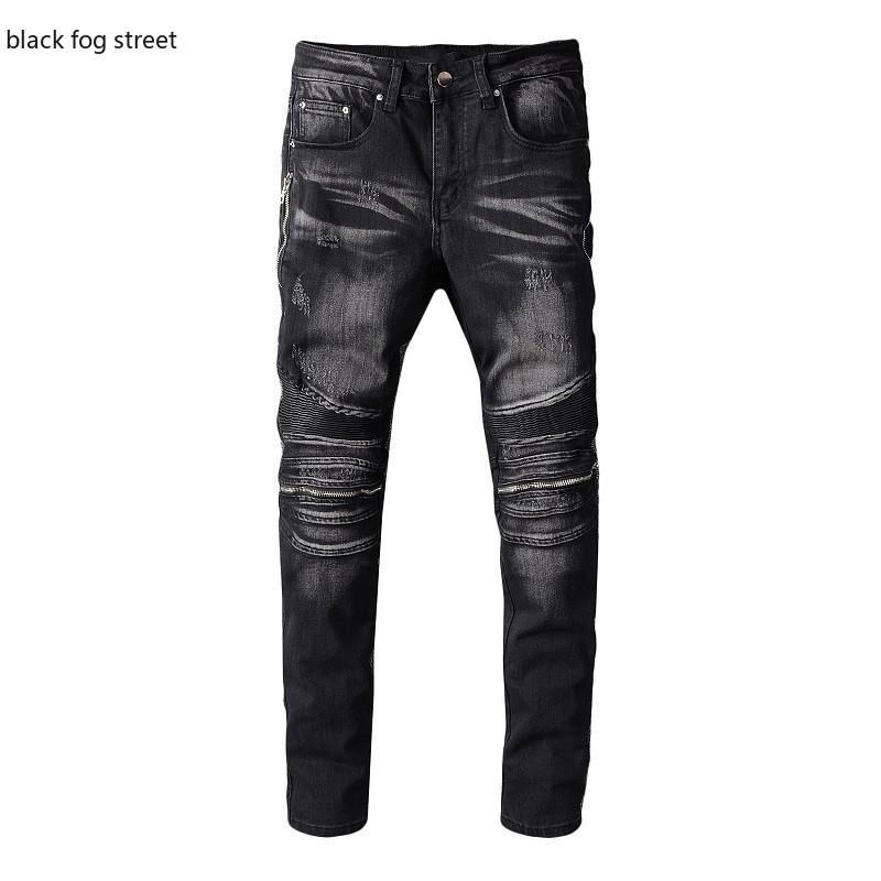 névoa preto rua 607 # calça jeans PU couro patchwork motociclista dos homens para motocicleta magro magro zíperes estiramento preto calças de ganga