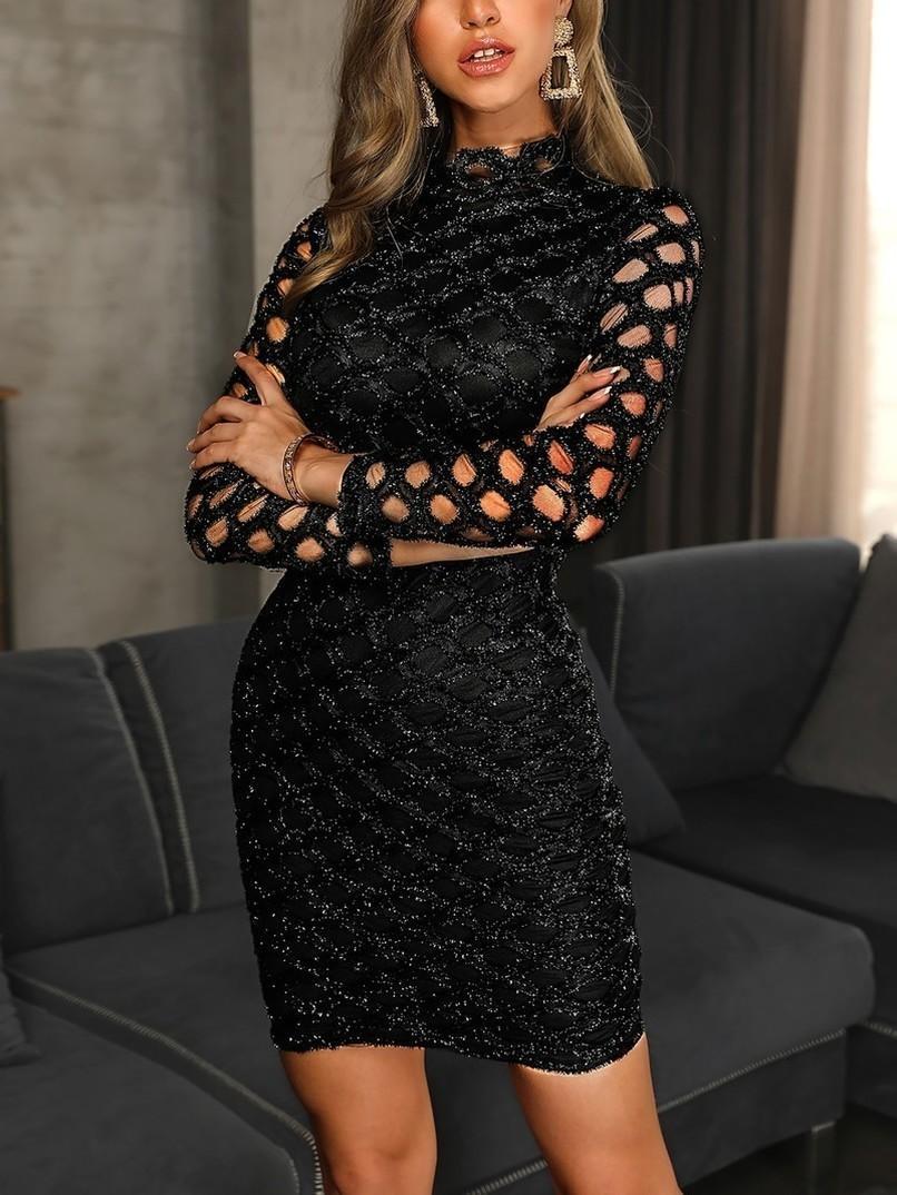 İlkbahar 2020 Kadın Moda Akşam Önlük Siyah Uzun Kollu Seksi Elegant Lady BODYCON Hollow A Hattı Kısa Elbise Polyester Parti Gecesi Yaz