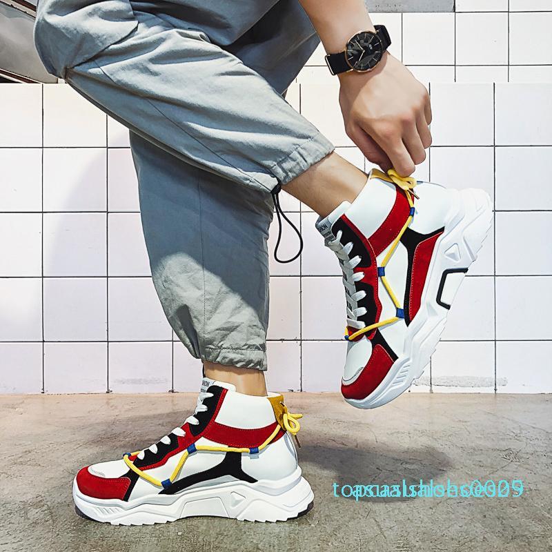 1New llegan mujeres de los hombres la zapatilla de deporte casual para hombre blanco Negro Zapato de Plataforma Trainer para mujer zapatilla de deporte al aire libre Volver Leather Zapatos de jogging T05