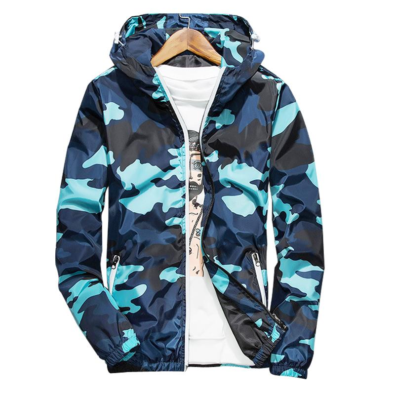 2020 Nuova Primavera Autunno con cappuccio giacca mimetica uomini sottili Giacche leggere Giacche a vento blu Giacca 5XL goccia Shoping