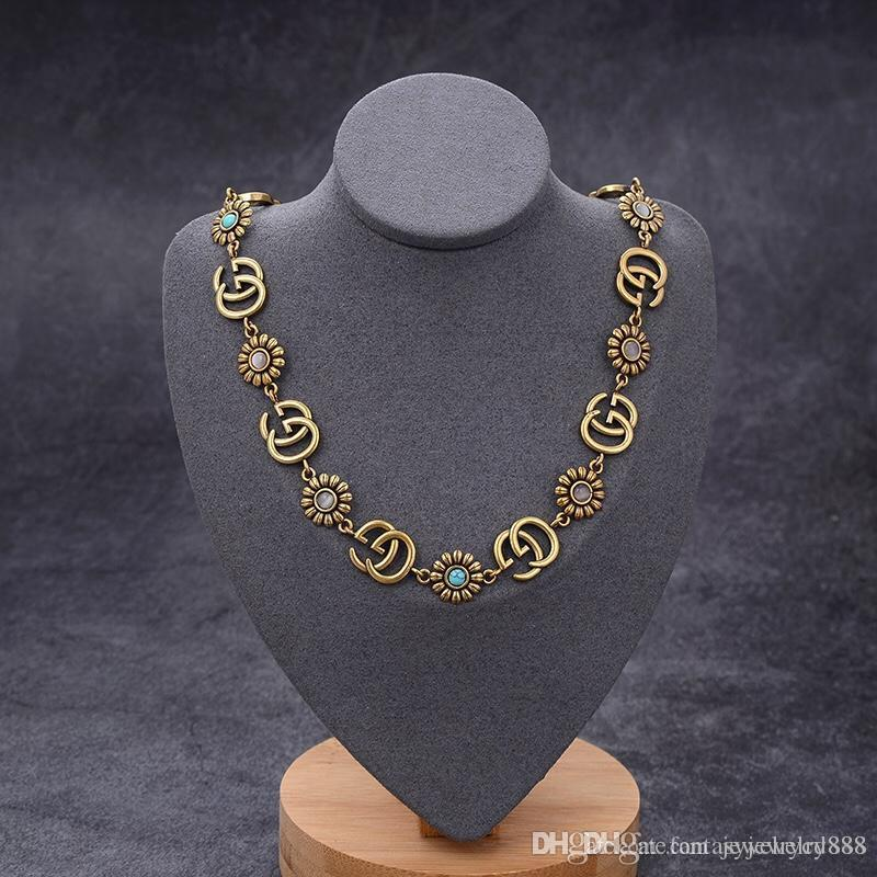 European and American fashion 2020 hot sale new flower inlaid turquoise designer necklace custom imported brass gold plated vintage woman ne