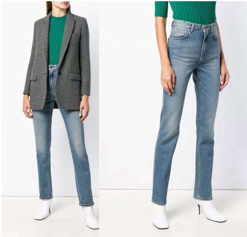 2020ss totême kadınlar kadınlar için kolay havalanmış kot pantolon pantolon artı boyutu skinny kot denim erkek arkadaşı dantel ince streç delikli kalem pantolon