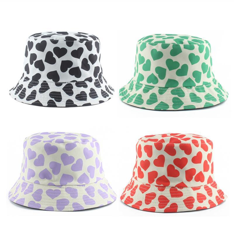 New Fashion Men Women Panama Hat Heart Print Green Purple Black Bucket Hats Reversible Fishing Bucket Cap Summer Sun Hat