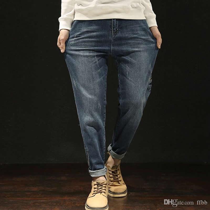 Moda Uomo Jeans Patchwork Ragazzi casuale allentata Caviglia-Lunghezza Harem Jeans Large Size 28-42
