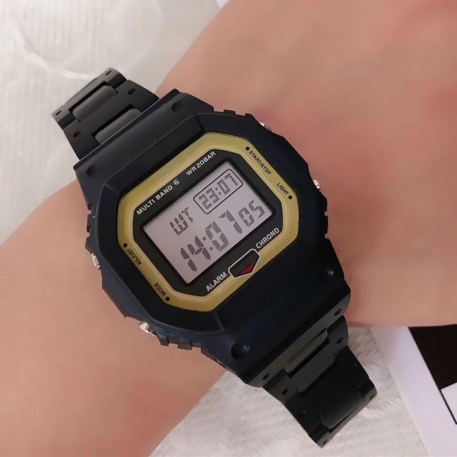 Мода 2020 Мужская Автоматическая светодиодная Спортивные часы Резиновые цепи ремень Military площади набора наручные часы Dropshiping хронограф мужские часы