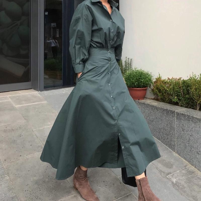 [EWQ] 2020 Estate risvolto monopetto camicia vita sottile del manicotto di soffio Stile abbigliamento tendenza coreana di modo dark ladies abiti verdi