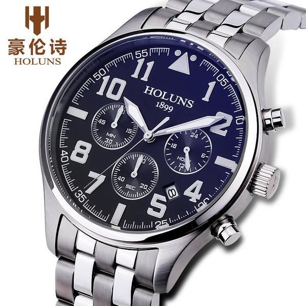 2020 orologio uomo di lusso in acciaio inox nero cinturino in Fashion Business orologio al quarzo di sport degli uomini d'acciaio completa