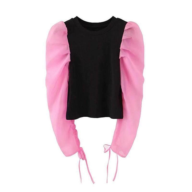 Las mujeres remiendo dulce blusa de cuello de O larga bocanada manga de la camisa femenina desgaste de la oficina monas camisetas básicas Blusas CX200710
